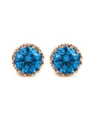Via Mazzini Gold Plated Turquoise Blue Crown Stud Earrings (10mm)