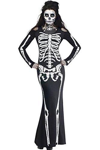 [JE Womens Long Skeleton Dress Adult Halloween Costume (Large)] (Cheap Maternity Halloween Costumes)