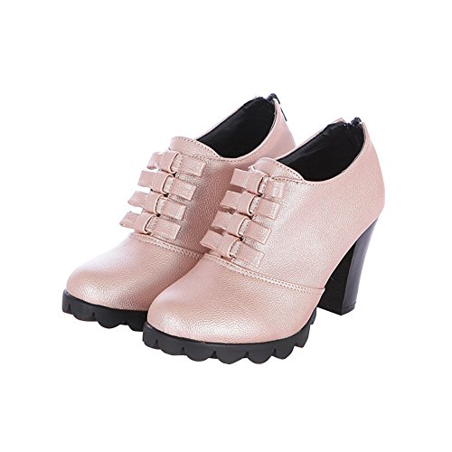 Bestiminc New Fashion High Quality Pu Leather Zip Bow Tie Thick Heel Platform Pumps High Heel Shoes,Pumps Shoes For Women