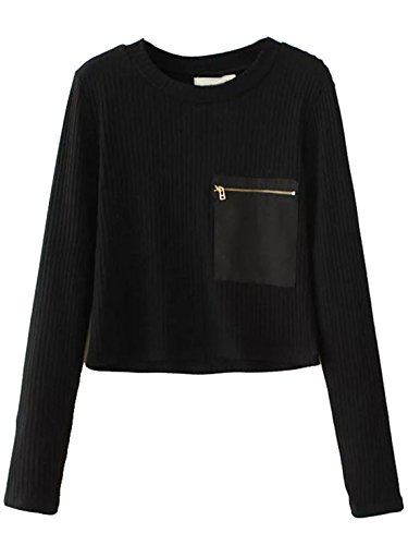 MakeMeChic Women's Casual Cable-Knit Round Neck Ribbed Pullover Sweater Black L