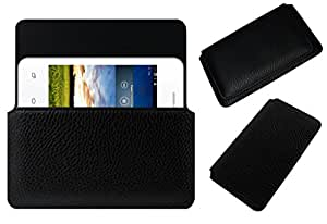 Acm Horizontal Leather Case For Karbonn Smart A50S Mobile Cover Carry Pouch Holder Black