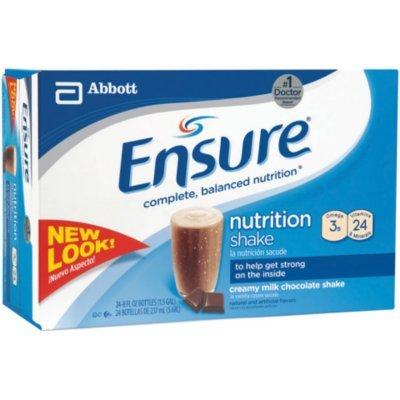 Ensure Complete Balanced Nutrition Shake, Creamy Milk Chocolate, #50462 - 8 Oz, 24 Ea/Case