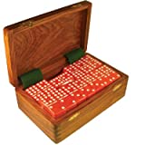 Domino Double Nine Red in Dovetail Jointed Sheesham Wood Box - Jumbo Tournament Size
