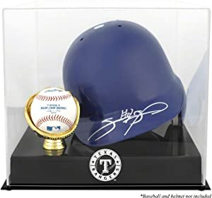 Texas Rangers Batting Helmet with Ball Holder Logo Display Case by Mounted Memories