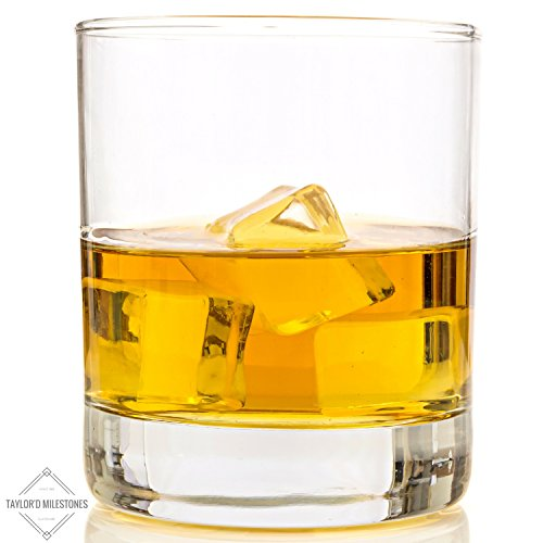 Taylor'd Milestones - Biccheri da Scotch e whisky, 10 oz (280 ml), set di 2, con incisione a diamante, stile vintage