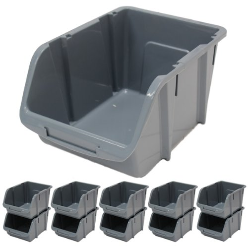Hardcastle Medium Grey Plastic Stacking Storage Bins x 10
