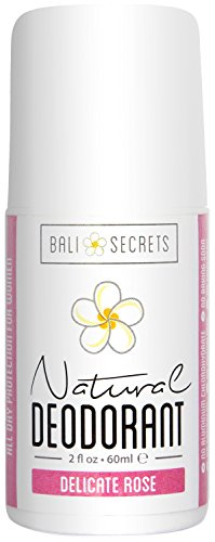 Bali Secrets Natural Deodorant - Organic & Vegan - Delicate Rose for Women - All Day Fresh - No Baking Soda - No Parabens - No Aluminum Chlorohydrate - 2 fl.oz/60ml
