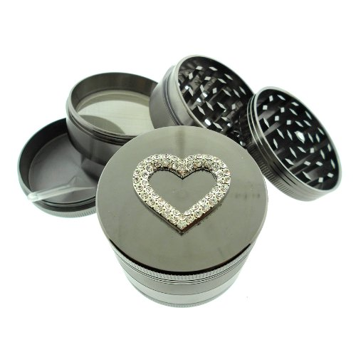 Titanium 4 Pc Herb Magnetic Grinder Medium 2.1 Inch Crystal Diamond Heart