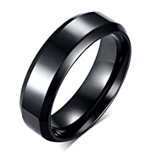 buy Stainless Steel Plain Band Ring For Men Women Wedding Engagement Promise,6Mm Width,Black,Size 6