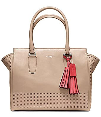 COACH Legacy Perforated Leather Medium Candace Carryall Satchel, Bisque/Hibiscus