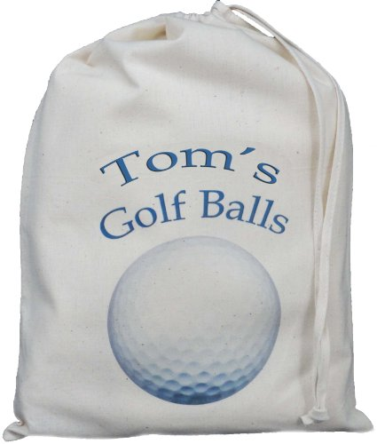 Personalised - Golf Ball Bag - Small Natural Cotton Drawstring Bag - Blue design - SUPPLIED EMPTY
