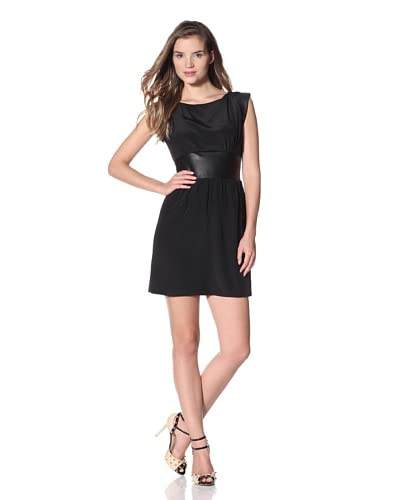 Luna by Josandra Women's Pilar Cap Sleeve Dress  - Black/Black