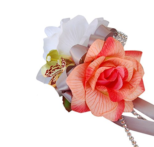 Wrist Corsage - Orange Peach Rose Orchid - Gray Ribbon