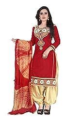 RajLaxmi Women's Fashion Maroon & Gold Chanderi Silk Dress Material