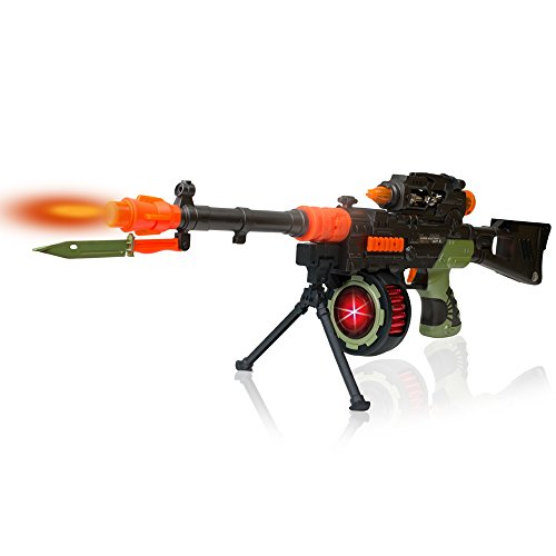 Military Machine Combat Toy Gun 27 Inches - Realistic Lights and Sounds - Kids Action Looks Real