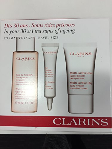 Clarins In Your 30's First Signs Of Aging Confezione Regalo 50ml Water Comfort One-Step Detergente + 10ml Gel Contorno Occhi + 15ml Multi-Active Day Wrinkle Crema Giorno