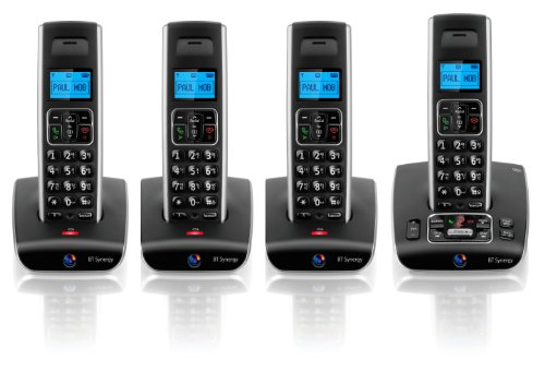 BT Synergy 5500 DECT Quad Cordless Phone with Answer Machine - Black / Silver
