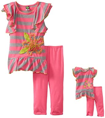 Dollie & Me Little Girls' Striped Tunic Legging Set with Doll Garment, Pink/Grey, 4