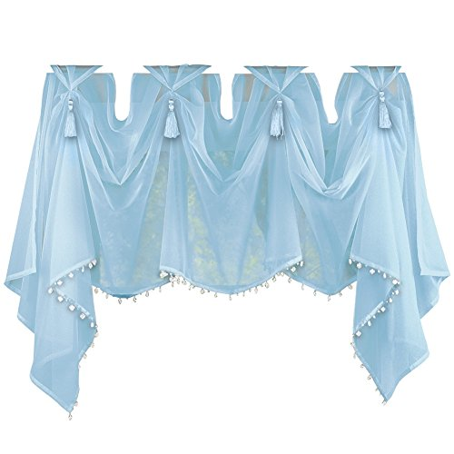 Tassel Sheer Scoop Valance Curtains, Blue (Light Blue Valances For Windows compare prices)