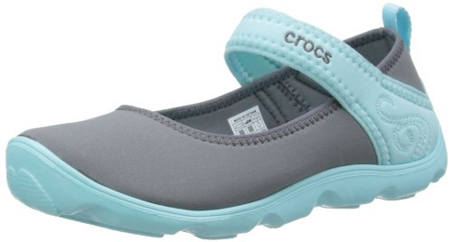 crocs Duet Busy Day Mary Jane GS 15352 Mädchen Ballerinas, Grau (Charcoal/Ice Blue 0M4), EU 36/37