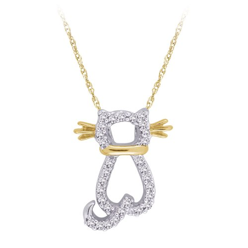10K Two Tone Gold 0.12 ct. Diamond ''Cat'' Pendant with Chain