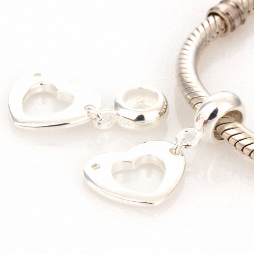 Taotaohas-(1Pc) Pure 100% Solid Sterling 925 Silver Charm Dangle Beads, [ Name: Open Heart ], Fit European Bracelets Necklaces Chains, Troll, Biagi Glass Charm Beads