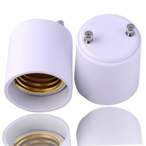 10-Pack GU24 to E26 / E27 Adapters - Converts your Pin Base Fixture (GU24) to Standard Screw-in Bulb Socket (E26/E27)