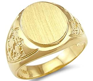 14k yellow gold mens plate heavy nugget ring band