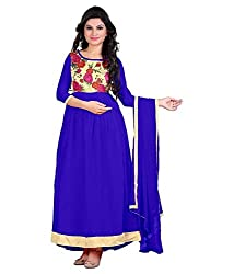 My online Shoppy Women's Georgette Semi Stitched Dress Material (My online Shoppy_111_Blue_Free Size)