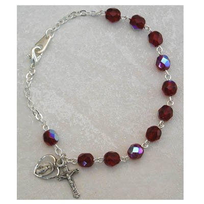 Sterling Silver Womens Rosary Bracelet Garnet January Birthstone.
