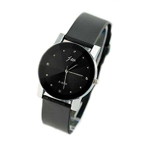Aokdis (Tm) Hot Selling Fashion Gentlmen Pu Leather High-Quality Dail Quartz Watch Black