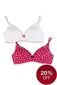 2 Pack Angel Cotton Rich Assorted Non-Wired Padded Bras