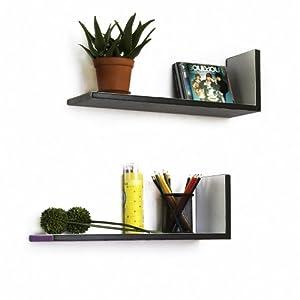 ... Stripe] L-Shaped Leather Shelf / Bookshelf / Floating Shelf (Set of 2
