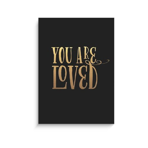 "Lucy Darling Gold You Are Loved Print Wall Decor, Black, 8"" x 10"""