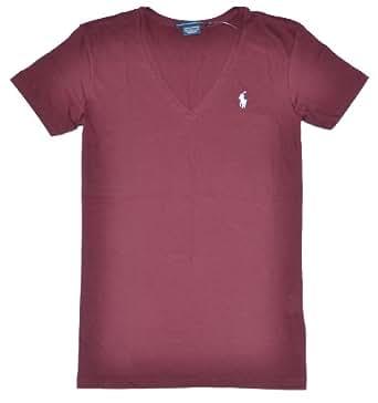 Ralph Lauren Sport Women Lightweight V-Neck T-Shirt (XS, Burgundy)