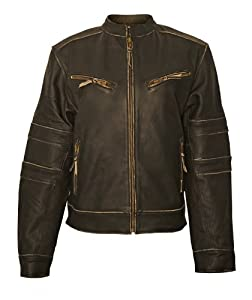 Milwaukee Motorcycle Clothing Company Ladies Distressed Leather Jacket with Zip Out Liner (Black, XX-Small)