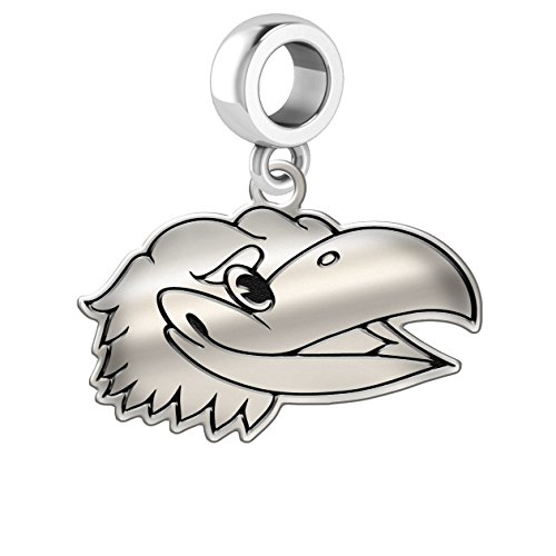 University of Kansas Jayhawks Sterling Silver Logo Cut Out Dangle Charm Fits All Beaded Charm Bracelets.