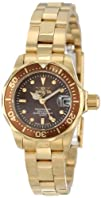 "Invicta Women's 12524 ""Pro-Diver"" 18k Gold Ion-Plated Stainless Steel and Brown Dial…"