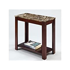 Devon Chairside End Table with Marble Style Top