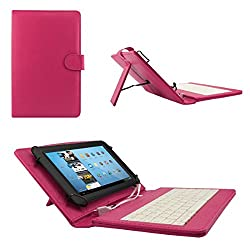 ECellStreet TM PU Leather Protective Keyboard Flip Case Cover With Stand For lenovo Idea tab A3000 - Dark Pink