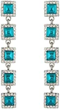 Ever Faith 5 Square Earrings Turquoise Color Austrian Crystal Silver-Tone N03518-4