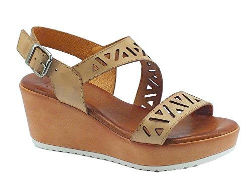 Sandali Mercante di Fiori per donna in pelle colore camel zeppa media (Taglia 38)