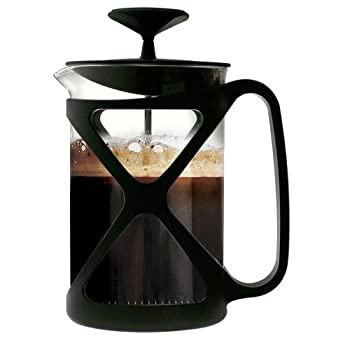 Modern design french press consists of a narrow cylindrical glass jug, equipped with a lid and a stainless plunger, which fits tightly in the cylinder glass beaker and which has a fine wire mesh acting as a filter. Coffee is brewed by placing the cof...