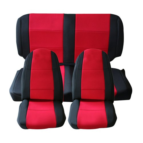 Leader Accessories Jeep Wrangler Yj 2 Door Covers 2 X Front & 1X Rear Seat 1987-1990(Red/Black)