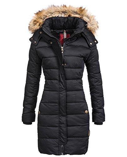 Navahoo Jessica giacca invernale da donna con Arte pelliccia cappuccio nero L