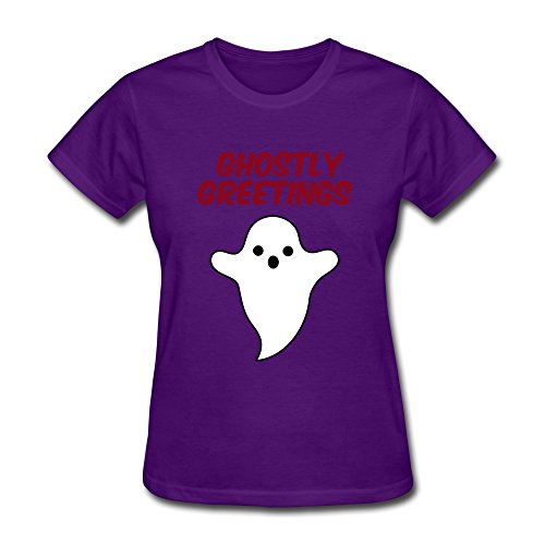 DASY Women's O Neck Halloween Ghostly Greetings Shirts XX-Large Purple (Womens Ghostly Wig)