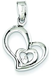 Sterling Silver Rhodium Plated Cz Heart Pendant