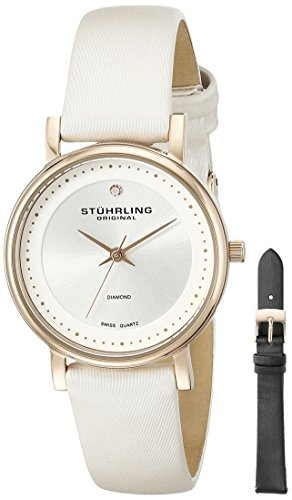 Stuhrling Original Women's 734LS2.SET.01 Symphony Elite Analog Swiss Quartz White Watch with Black Interchangeable Satin Covered Strap