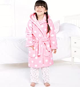 Younger Girls' Long Sleeve Spot Hooded Dressing Gown