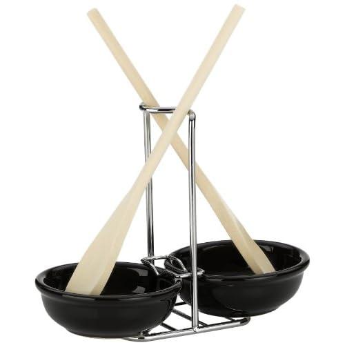Kela-16950-Spoon-Holder-Black-Ceramic-with-2-Wooden-Spoons